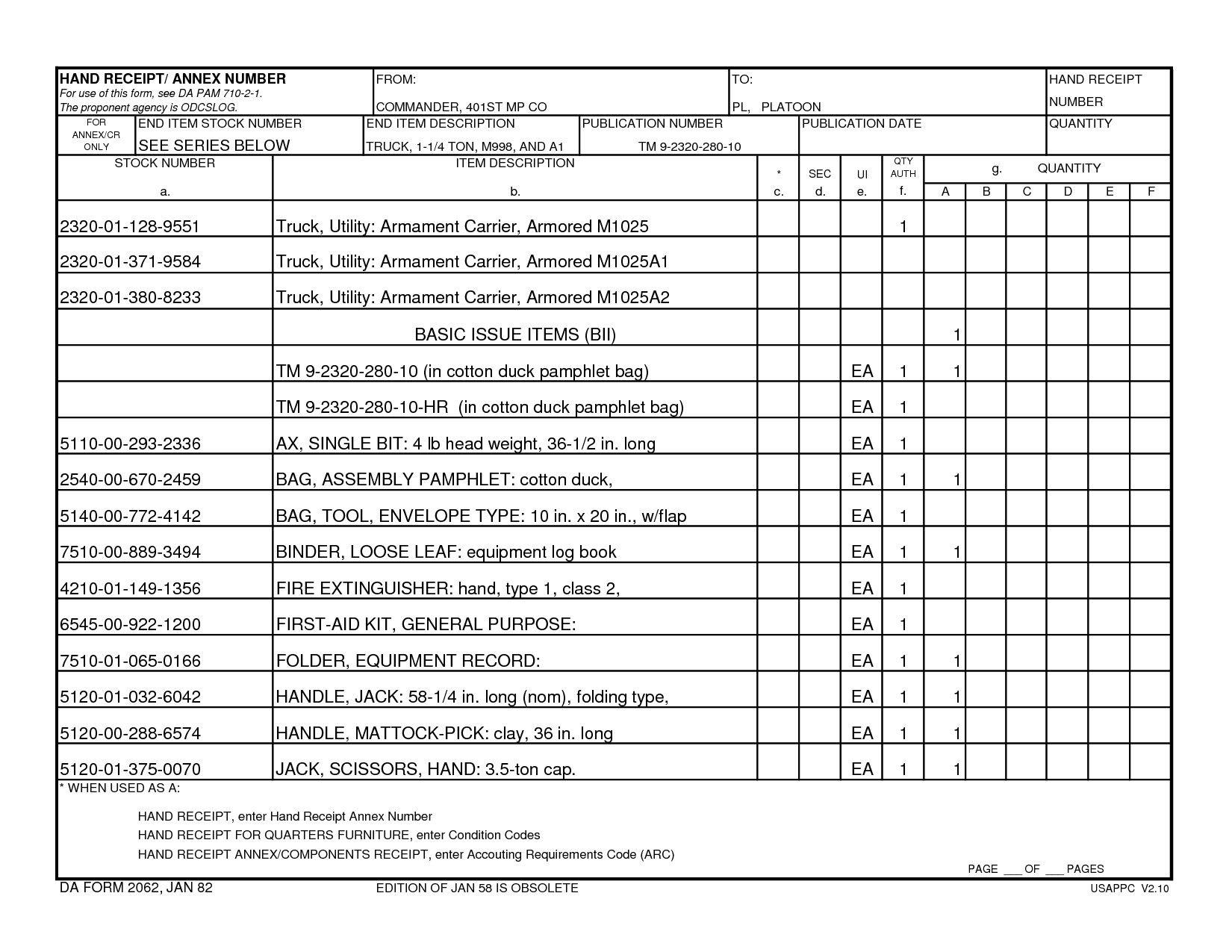 Da Form 3161 Fillable 2062 Hand Receipt Pdf Cover Sheet Template Balance Sheet Template Statement Template