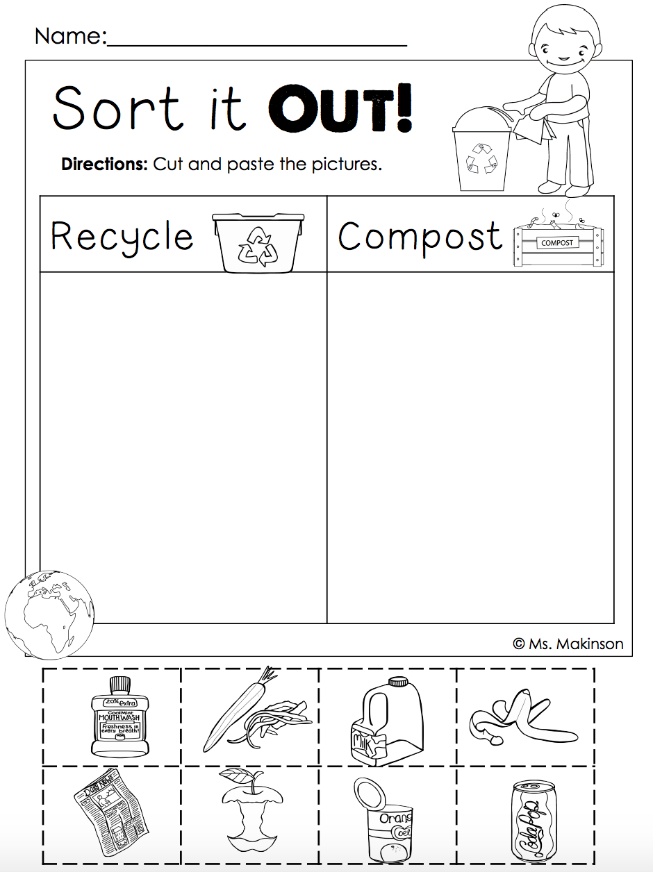worksheet Earth Day Worksheet free earth day printables recycling and compost cut paste free