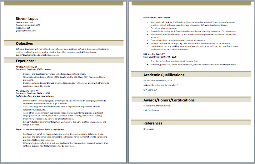 Entry Level Web Developer Resume With