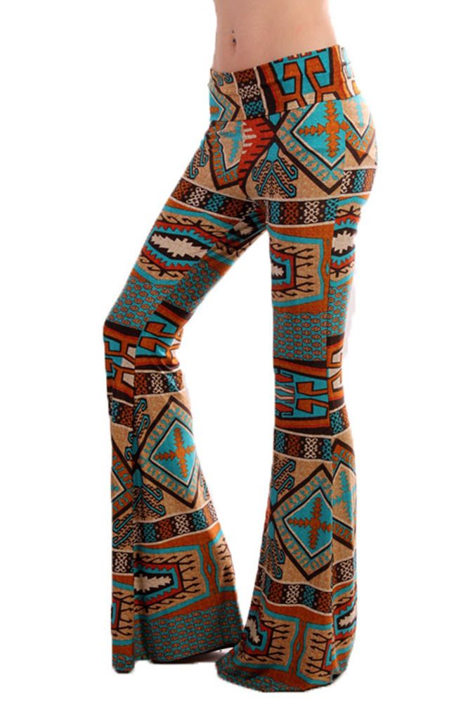 a2954dda0df Cowgirl Yoga Gypsy AZTEC Indian Native Turquoise PALAZZO PANTS Leggings  SMALL  freshmint  Palazzo