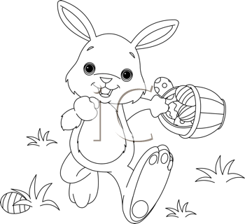 Iclipart Royalty Free Clipart Image Of An Easter Bunny Hiding Eggs Bunny Coloring Pages Easter Bunny Colouring Easter Egg Coloring Pages