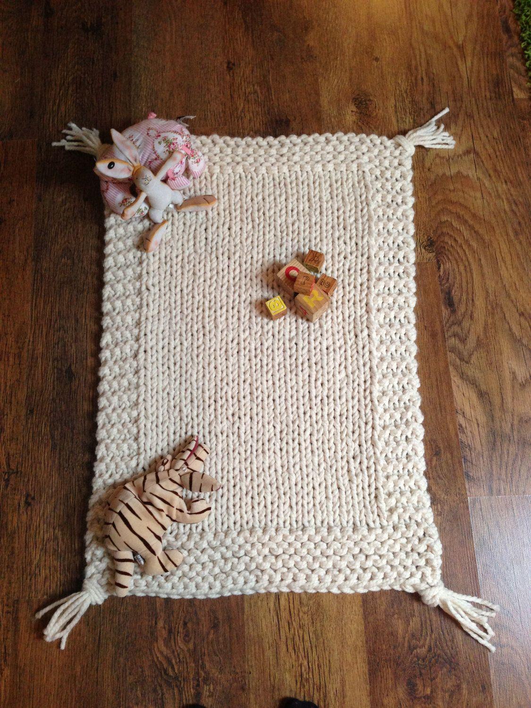 Chunky Cream Hand Knitted Babies Blanket / Play Mat.. £22.50, via ...