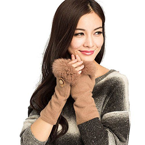 Yimidear New Women's Winter Warm Gloves Lady Fingerless Wool Wristbands (light tan) -- See this great product.