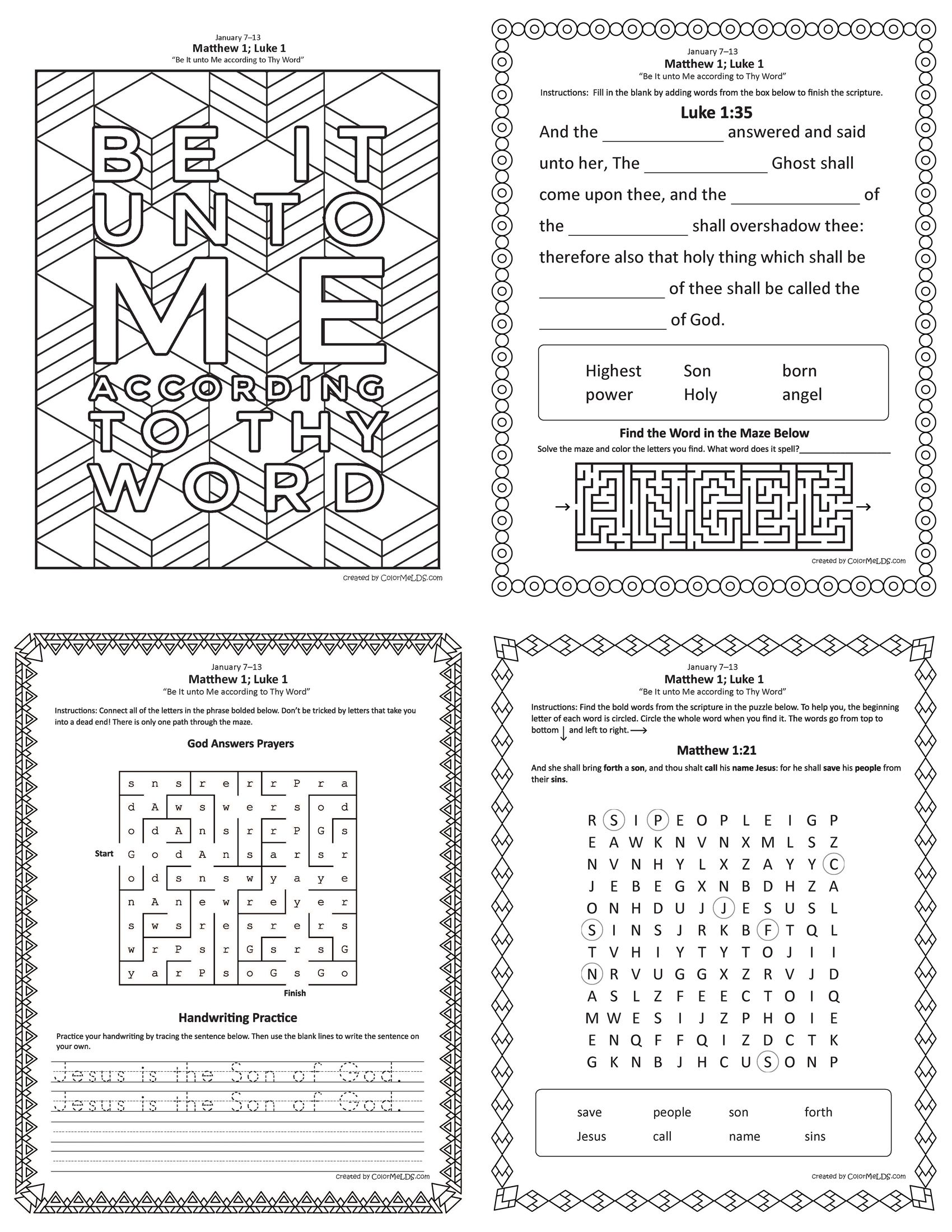 Free Lds Worksheets And Printables