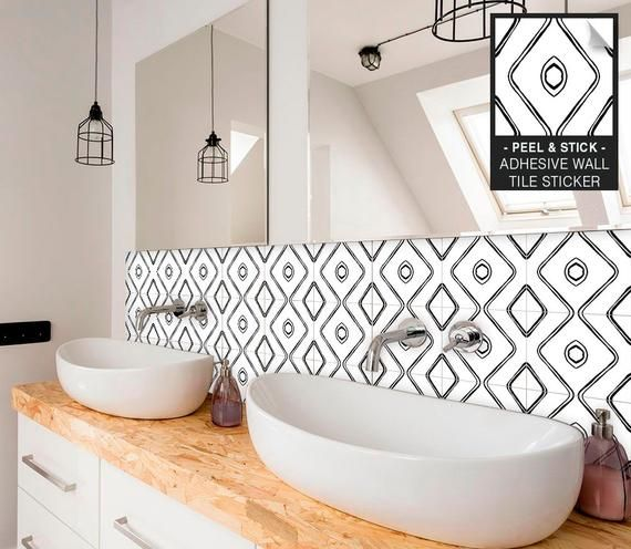 Wave Tile Stickers Wall Tile Stickers Peel Stick Kitchen Etsy In 2021 Wall Tiles Tile Decals Stickers Bathroom Wall Tile