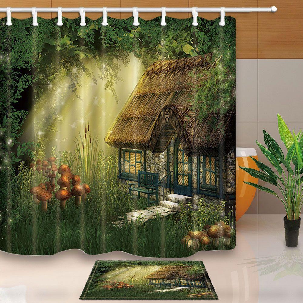 Fairy Tale Forest Hut Shower Curtain Bathroom Decor Fabric