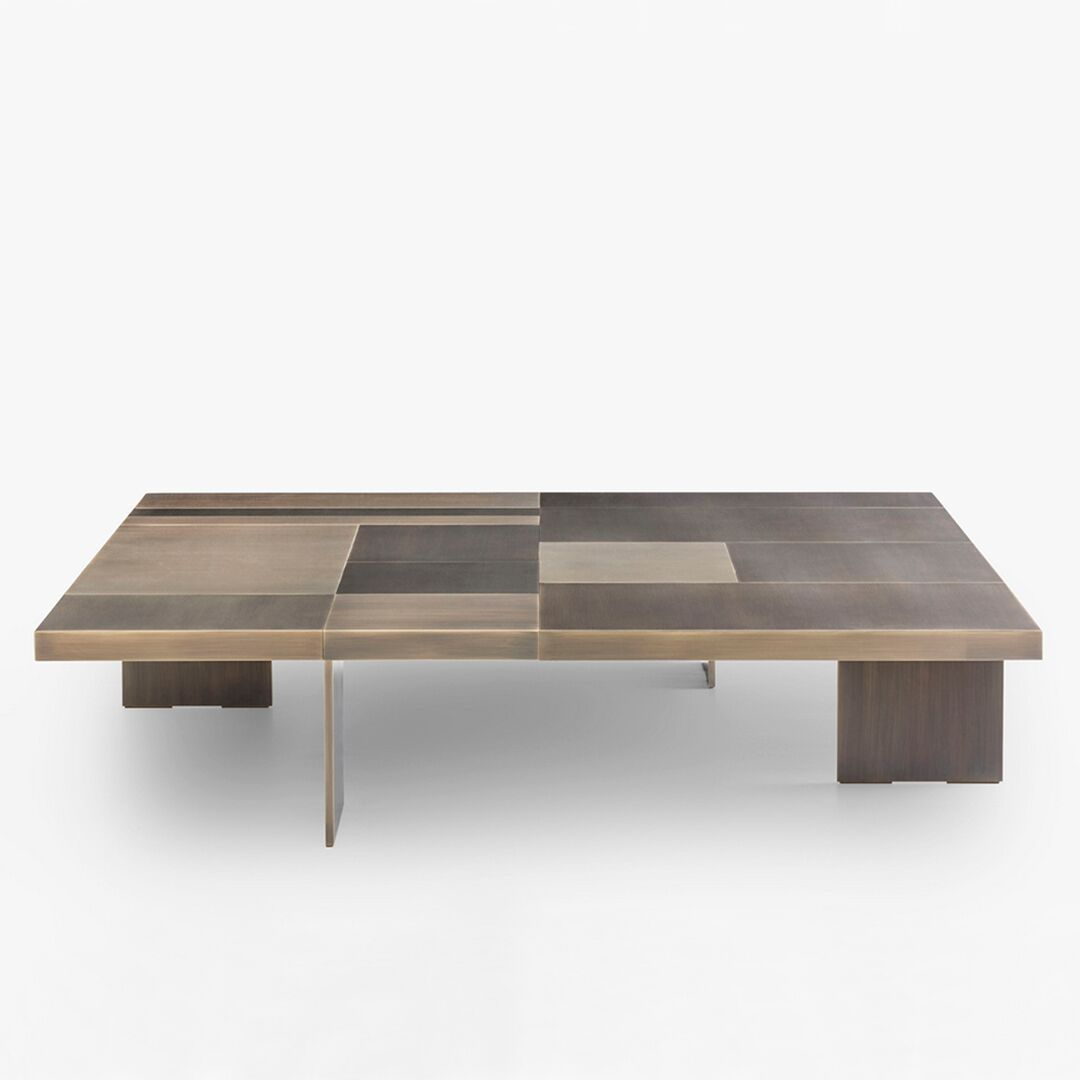 Coffee Table Strada Bronze With Structure In Solid Wood Covered With Solid Bronze Plates Finishes Pacificcompagnie Interior Deco Decoration Paris Design