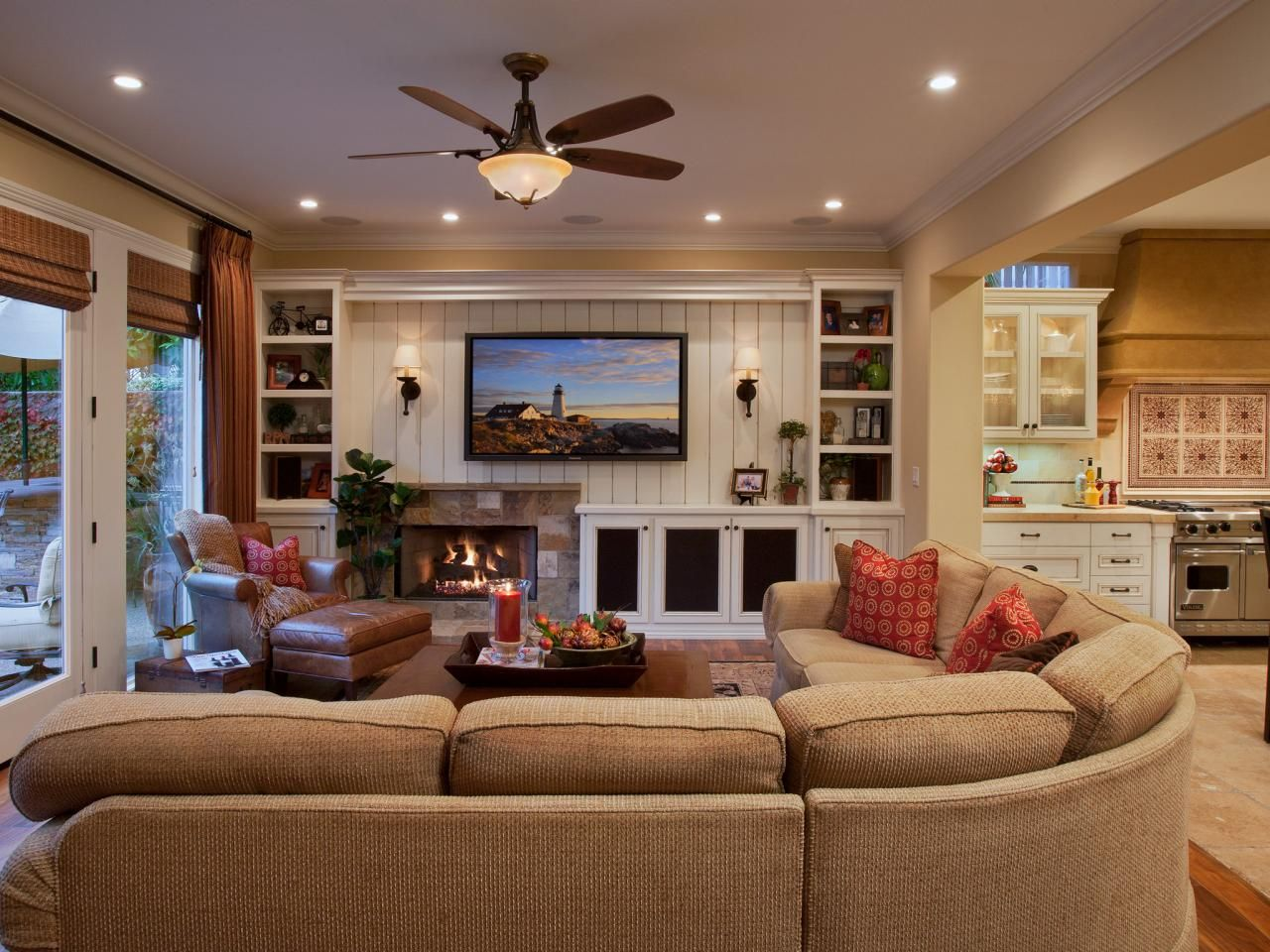 Living Room With Custom Built Ins And Beadboard Wall Traditional Family Rooms Living Room Floor Plans Livingroom Layout
