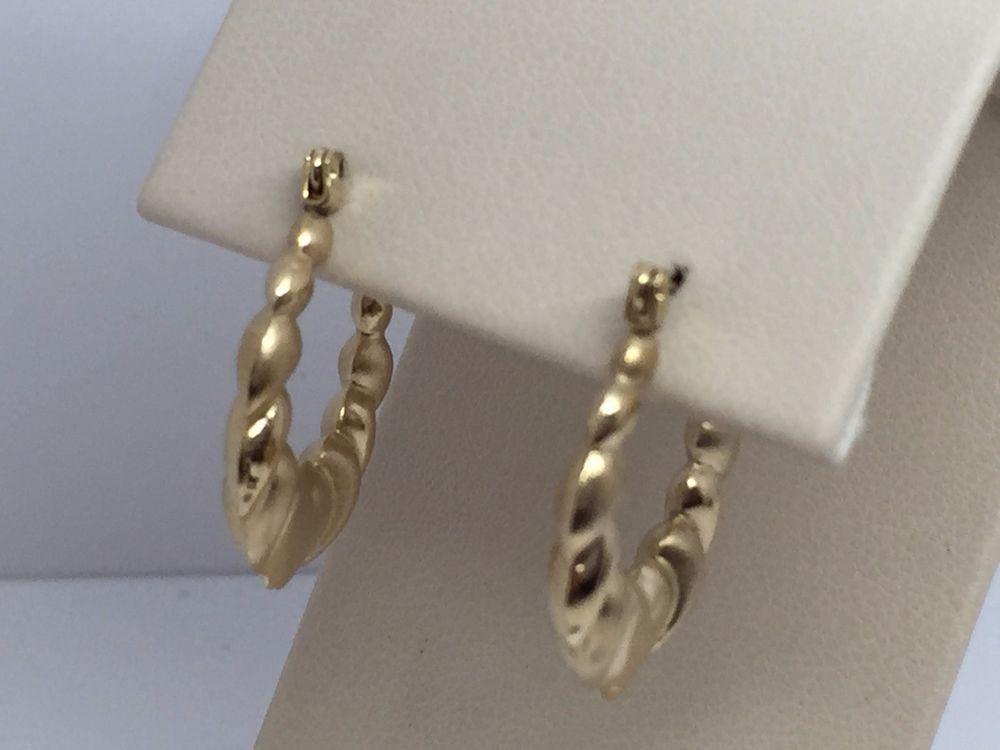 14k Yellow Gold Shrimp Design Hoop Earrings With Hearts Ebay Items