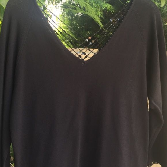 3/4 sleeve rayon and nylon sequined sweater New York City Design black V neck and back sweater with sequin trim Sweaters V-Necks