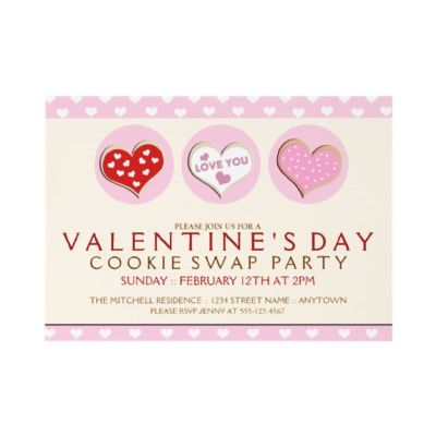 Valentines Day Cookie Swap Party Invitations  Customize These Fun