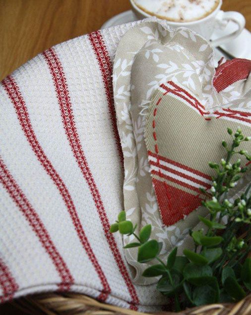 Waffle weave cotton tea towels with stripes – size 850mm x 470mm – comes in ecru with red stripe or black stripe