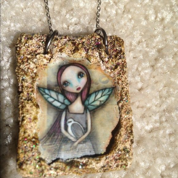 Dark Faerie Necklace, print of original artwork This sweet necklace showcases a print of an original artwork by Dark Faerie Designs. Excellent condition, pendant is printed on baked clay tablet, hand embellished with glitter. Unique! Includes chain. Dark Faerie Designs Jewelry Necklaces