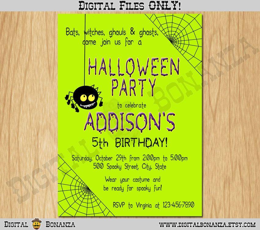 Halloween Invitation Halloween Party Invite Costume Party Kids ...