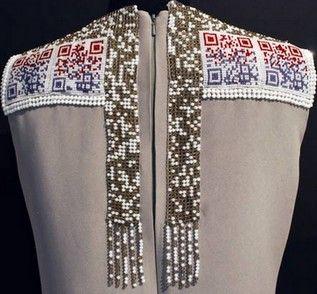 Back of QR Code dress made from Swarovski crystals