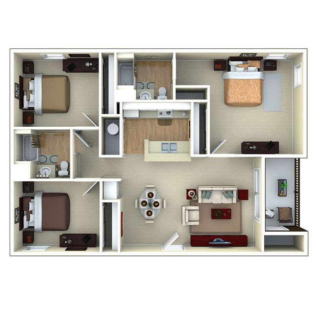 3bedroom 3d Floor Plan Glenbrook Apartments In Sarasota Fl Small House Plans 3d House Plans Apartment Floor Plans