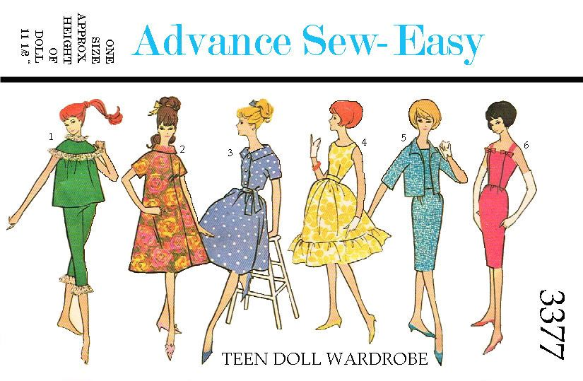 Advance 3377, reproduced pattern, for 11 1/2 inch dolls such as ...