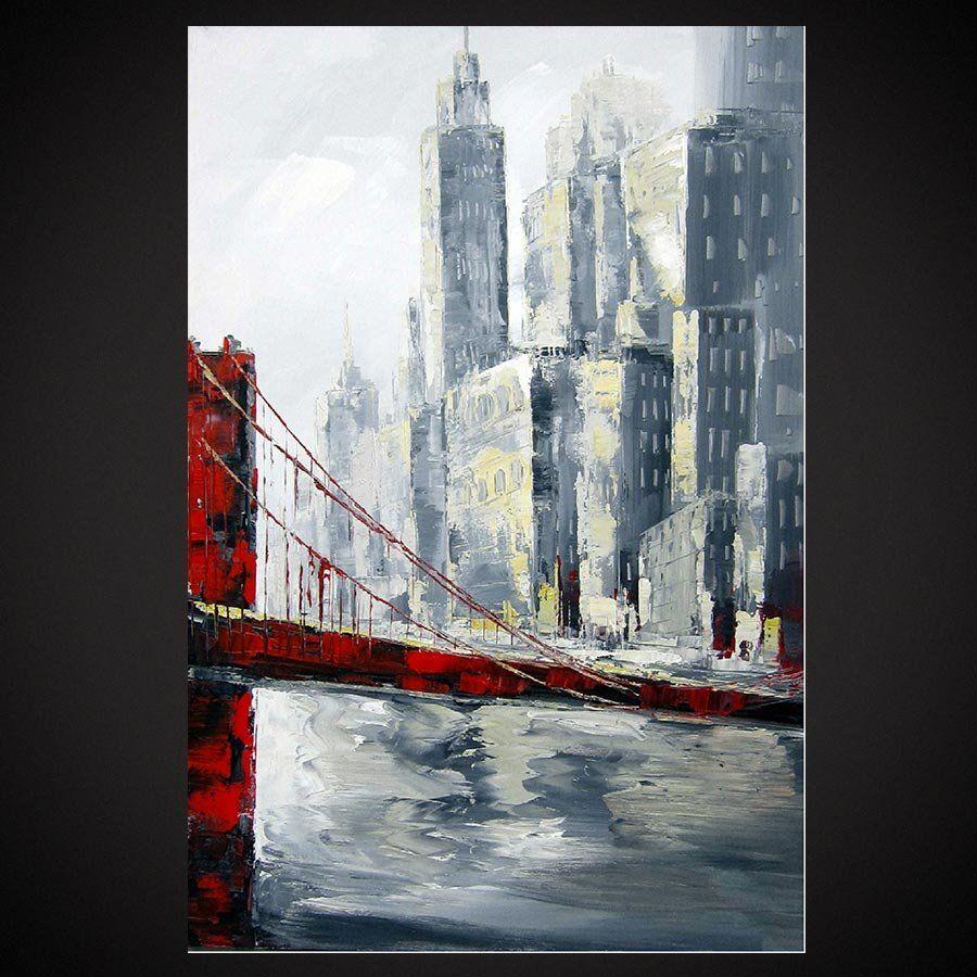 Tableau pont de New York | Peinture urbaine,