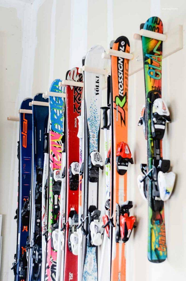 Easy DIY Ski Storage Rack in 2020 Ski storage, Ski rack