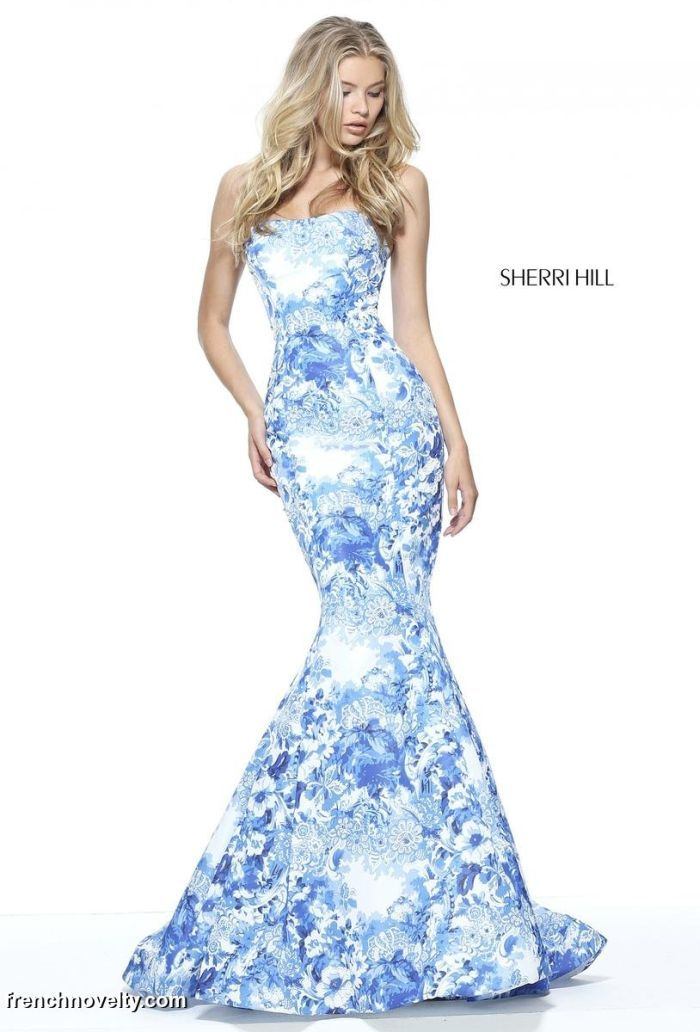 Sherri Hill 51198 is a strapless, mermaid prom dress with an all over  unique print