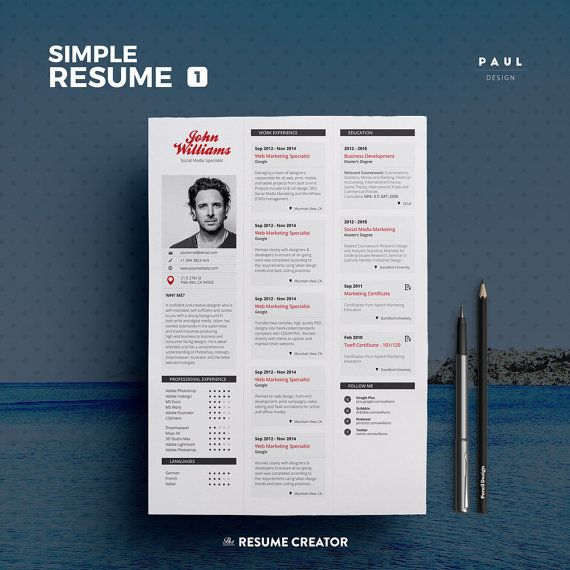 Simple Resume Vol   Word And Indesign Template  Professional