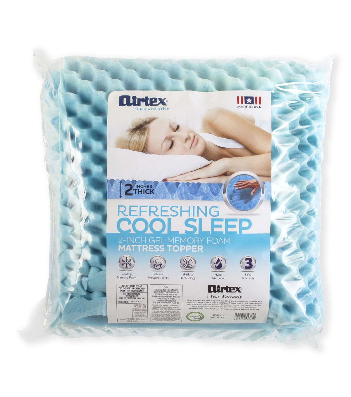 Airtex 2 Inch Gel Memory Foam Mattress Topper Queen