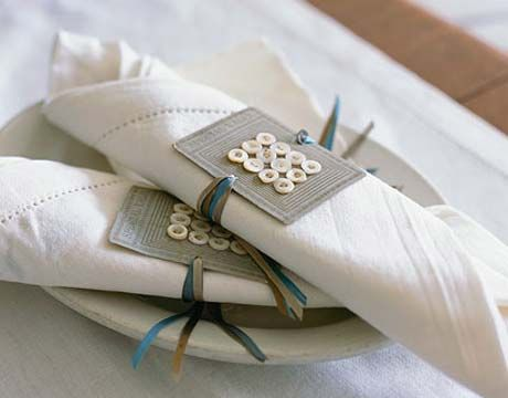 button napkin holders. choose 2 yards each (per 2 napkins) of 5