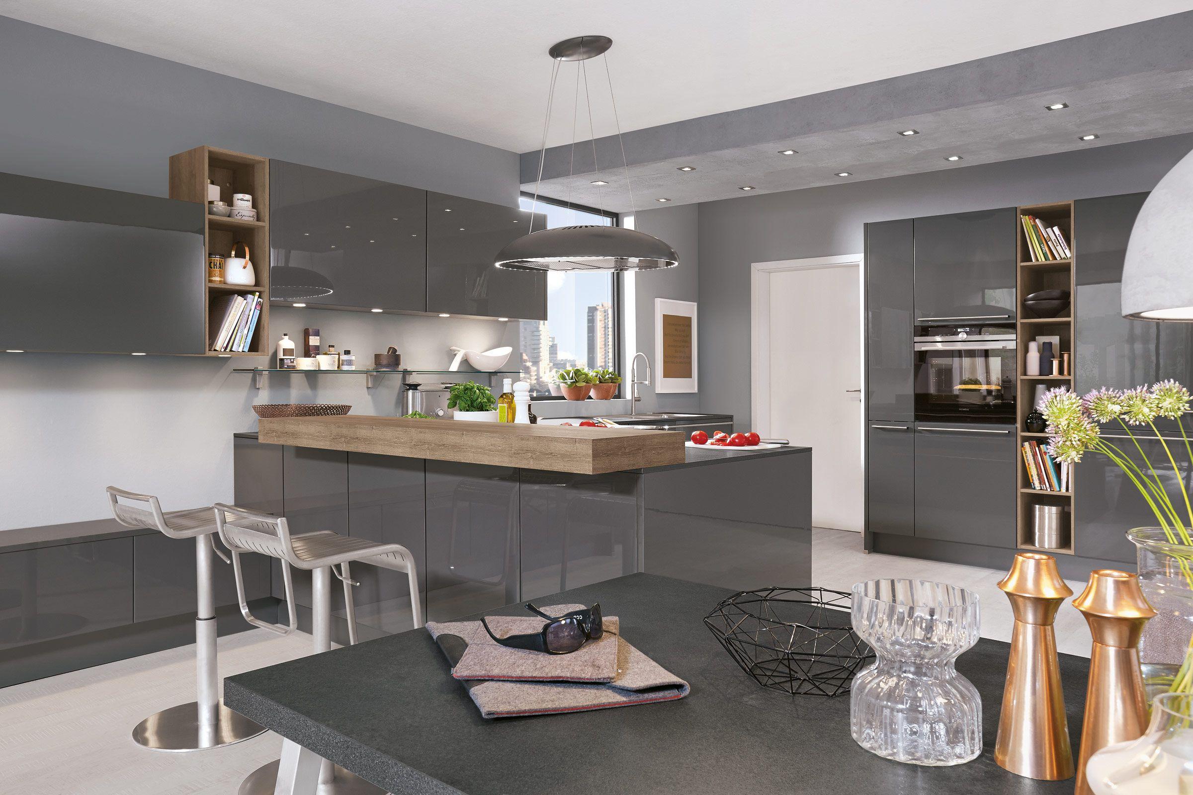 Kücheninsel Küche Hochglanz Dunkelgrau Norina16  Einbauküche