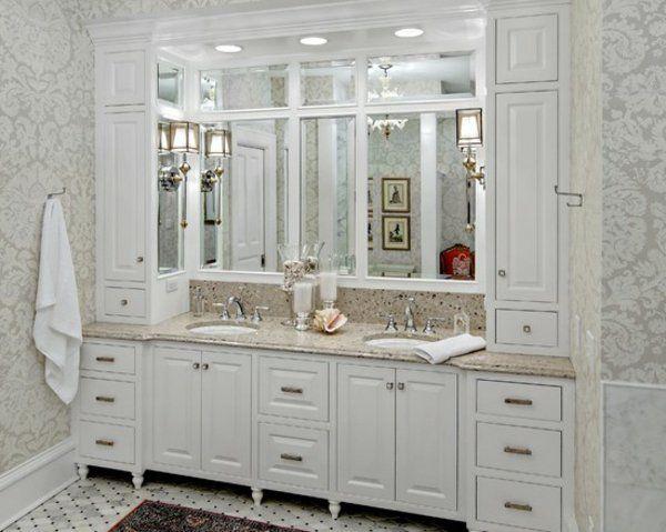 romantisches bad gemusterte wandtapeten   badezimmer - bathroom