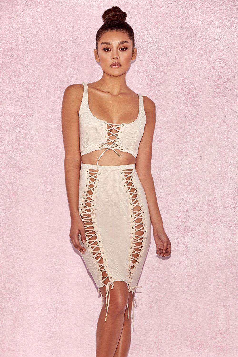 fee76ab1bf9c Cylla Nude Ribbed Two Piece with Lace Ups. Cylla Nude Ribbed Two Piece with  Lace Ups Bodycon Dress Parties, Bandage Dresses ...