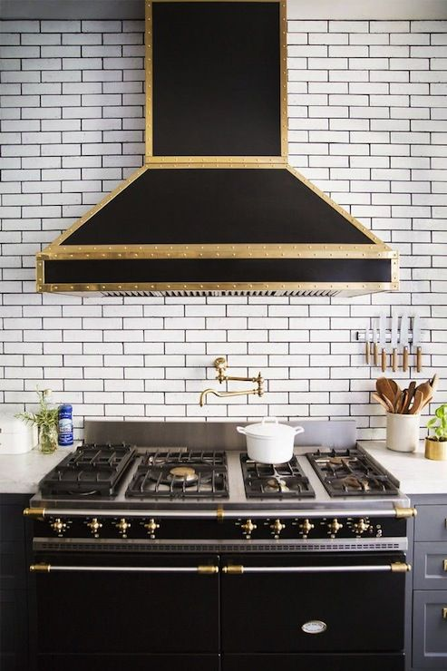 Black Gold Hood Range Black Grout Kitchen Inspirations Home Kitchens Kitchen Remodel