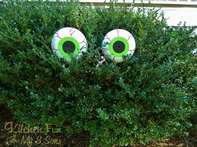 Dollar Store Spooky Bush Eyes Outdoor Craftcheap  easy