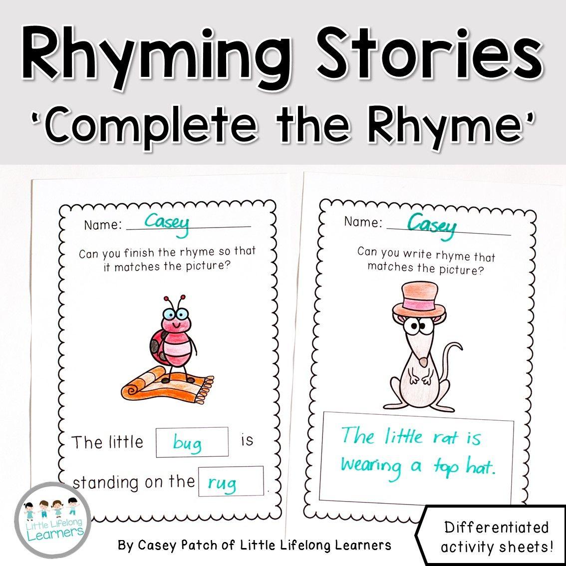 Rhyming Worksheets Complete the Rhyme Rhyming