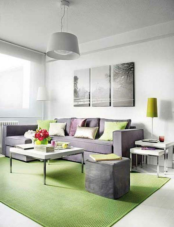 Kleines Wohnzimmer Modern Einrichten  Graue Auffällige Bild In Drei Teilen