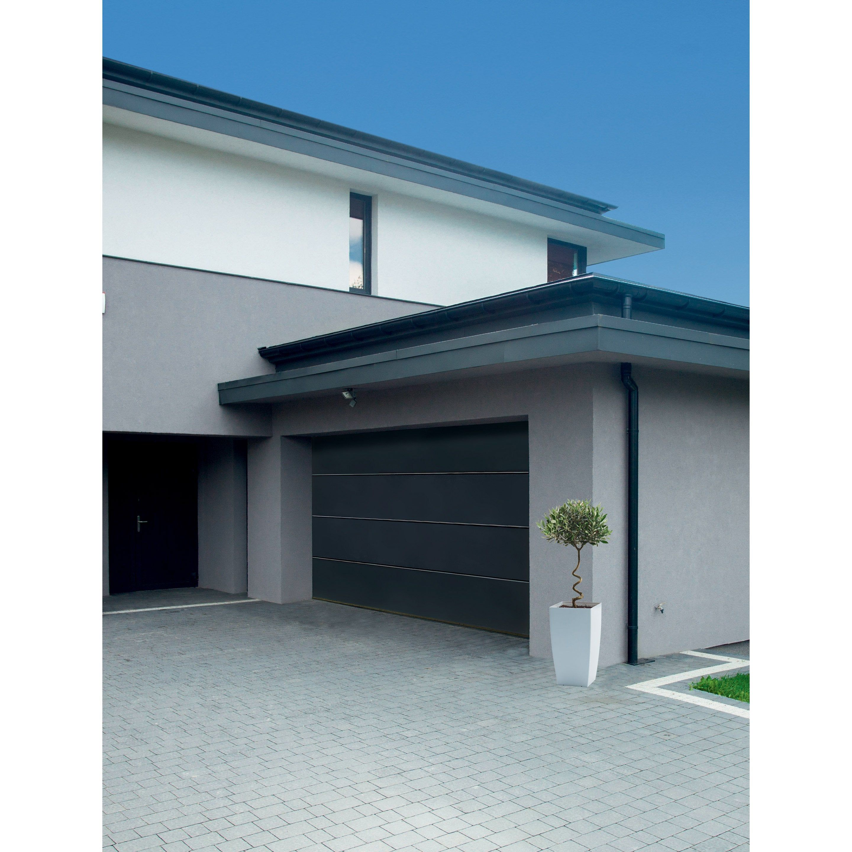 Porte De Garage Grise Sectionnelle Premontee Motorisee Rainuree Artens 200x240 Porte Garage Porte De Garage Sectionnelle Et Garage