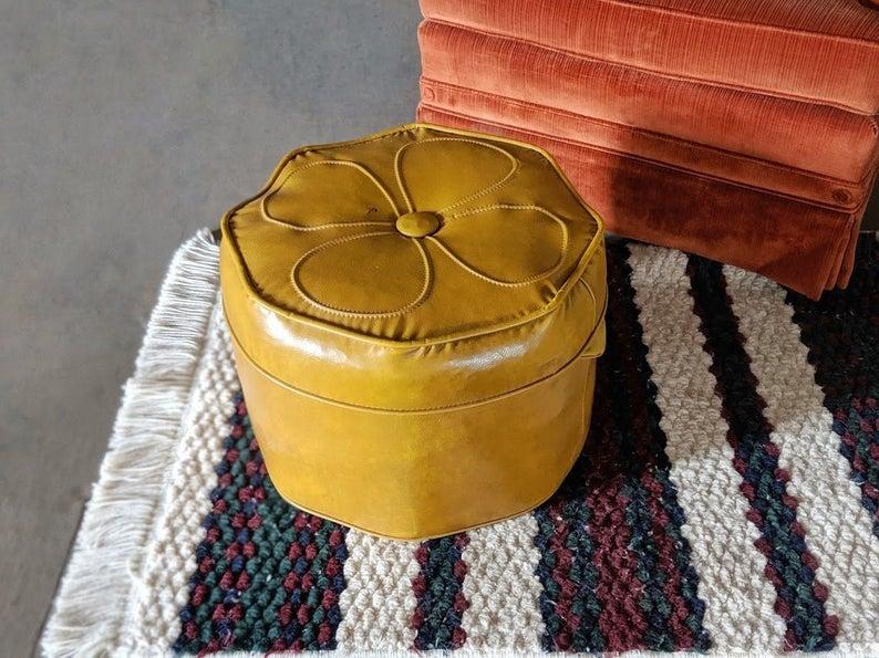 Vintage Vinyl Mustard Yellow Ottoman Retro 60s Mod Flower
