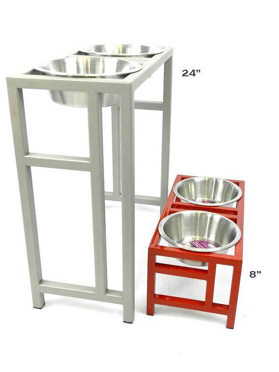 24 Inch Great Dane Elevated Dog Feeder Bowl Holder Modern Design