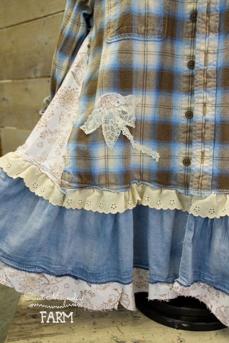 Flannel shirt vintage  Farm Girl Fancies Upcycled Flannel shirt tunic jacket  Vintage Lace