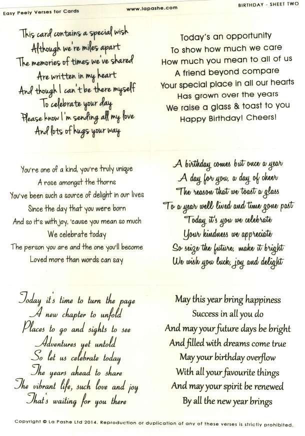 La Pashe Easy Peely Verses For Cards Birthday 2 Free Digi