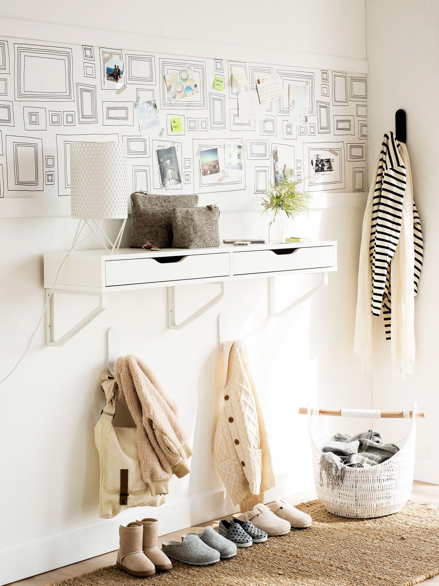 Recibidor en blanco con cajones volados y vinilo - Cajones decorativos ...
