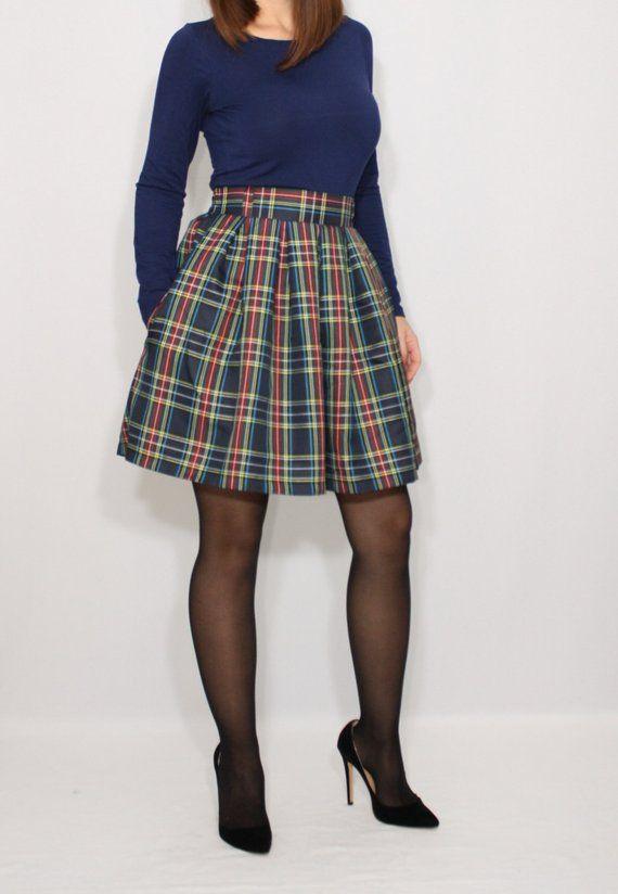 b17729f064 Navy plaid skirt Women short skirt High waist skirt with pockets Wool skirt  Tartan Mini Skirt