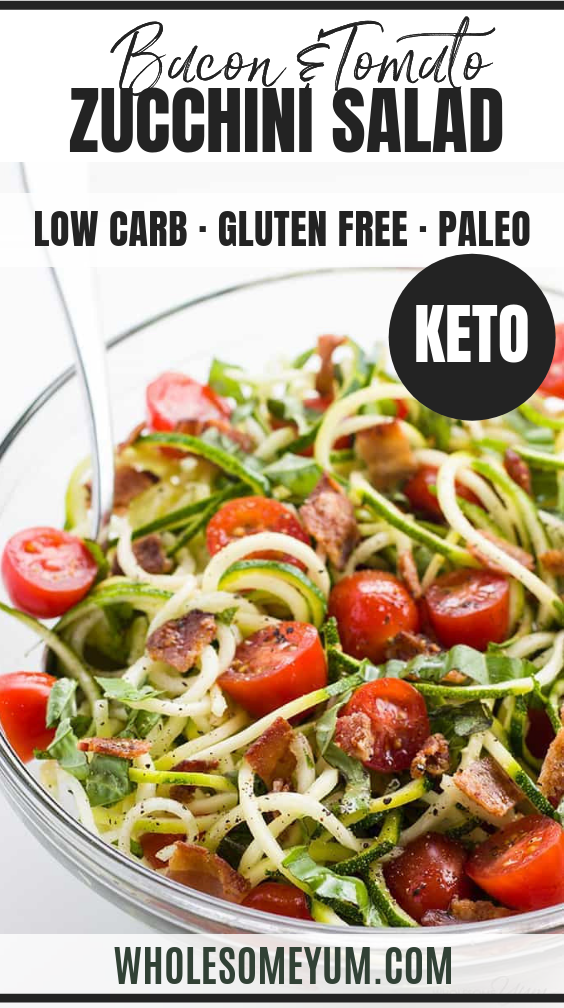 Zucchini Noodle Salad Recipe with Bacon & Tomatoes (Low Carb, Paleo) images