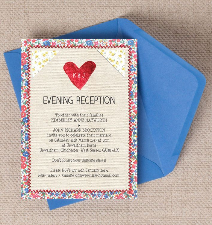 Country Textiles Evening Reception Invitation. Printable