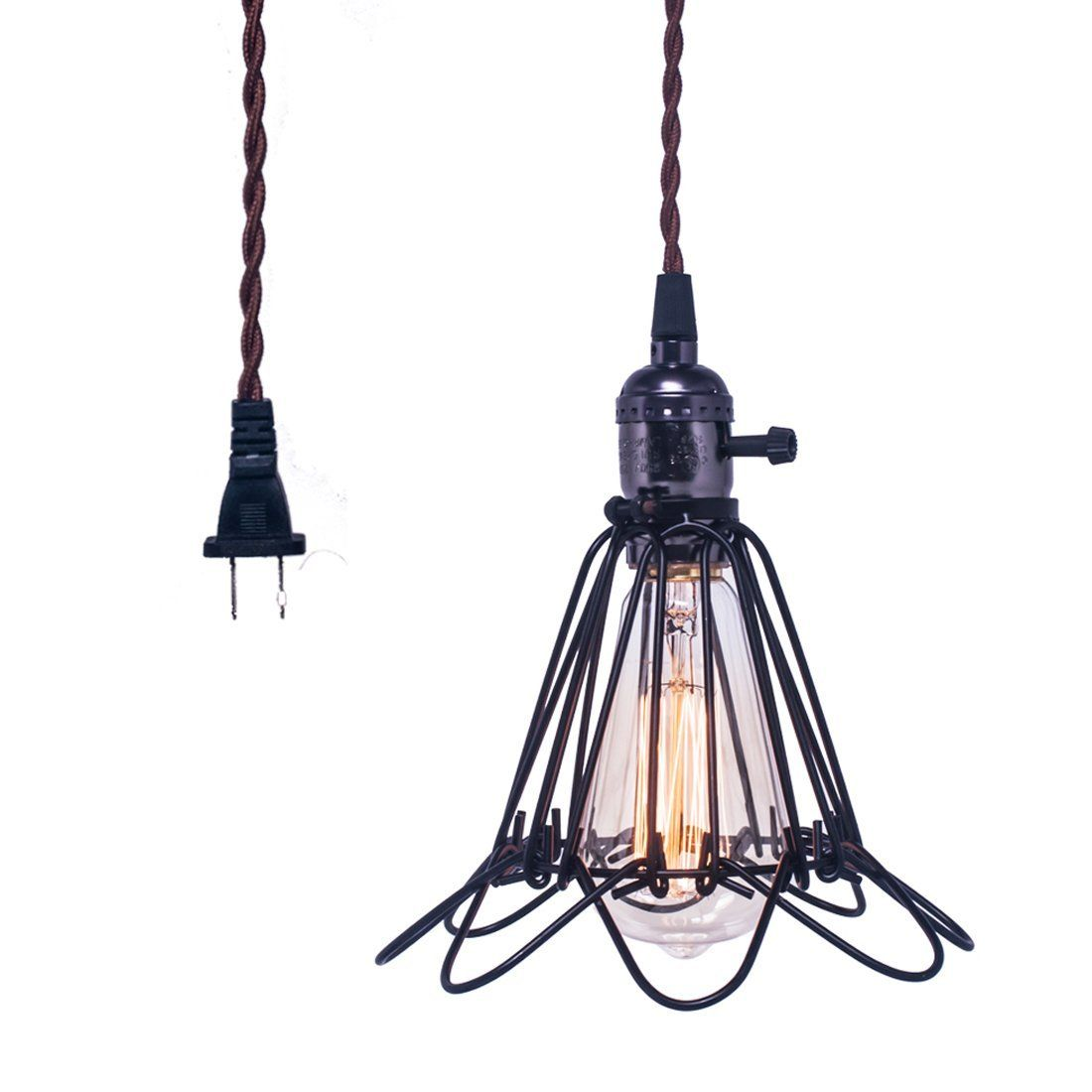 Hebolen Vintage Metal Pendant Light Fixture Industrial Rustic Hanging Ceiling Light With Plug In Pendant Light Metal Pendant Light Fixture Cage Pendant Light