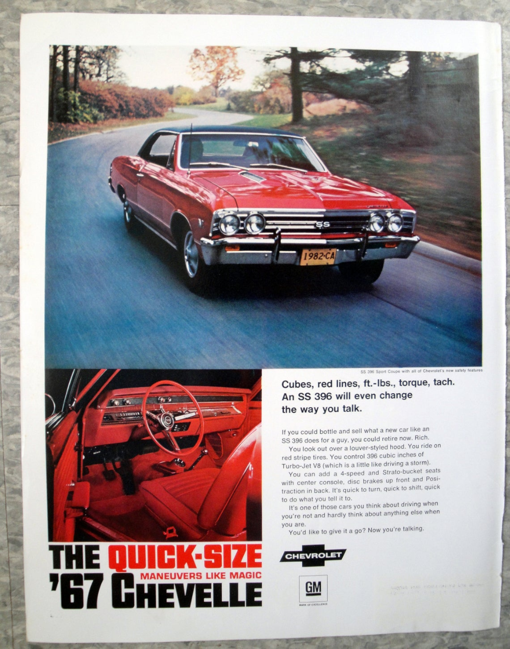 1967 Chevrolet Chevelle Red SS 396 Sport Coupe-Original 13.5 * 10.5 Magazine Ad
