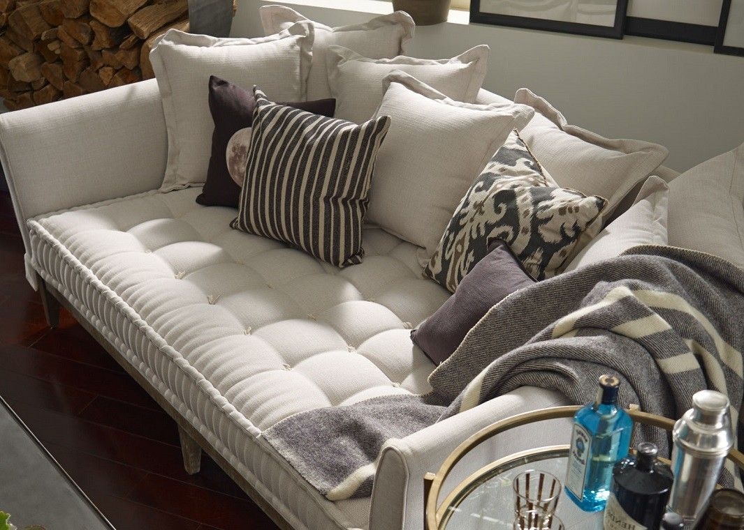 Extra Deep Day Bed Sofa Light Sand Linen Seated