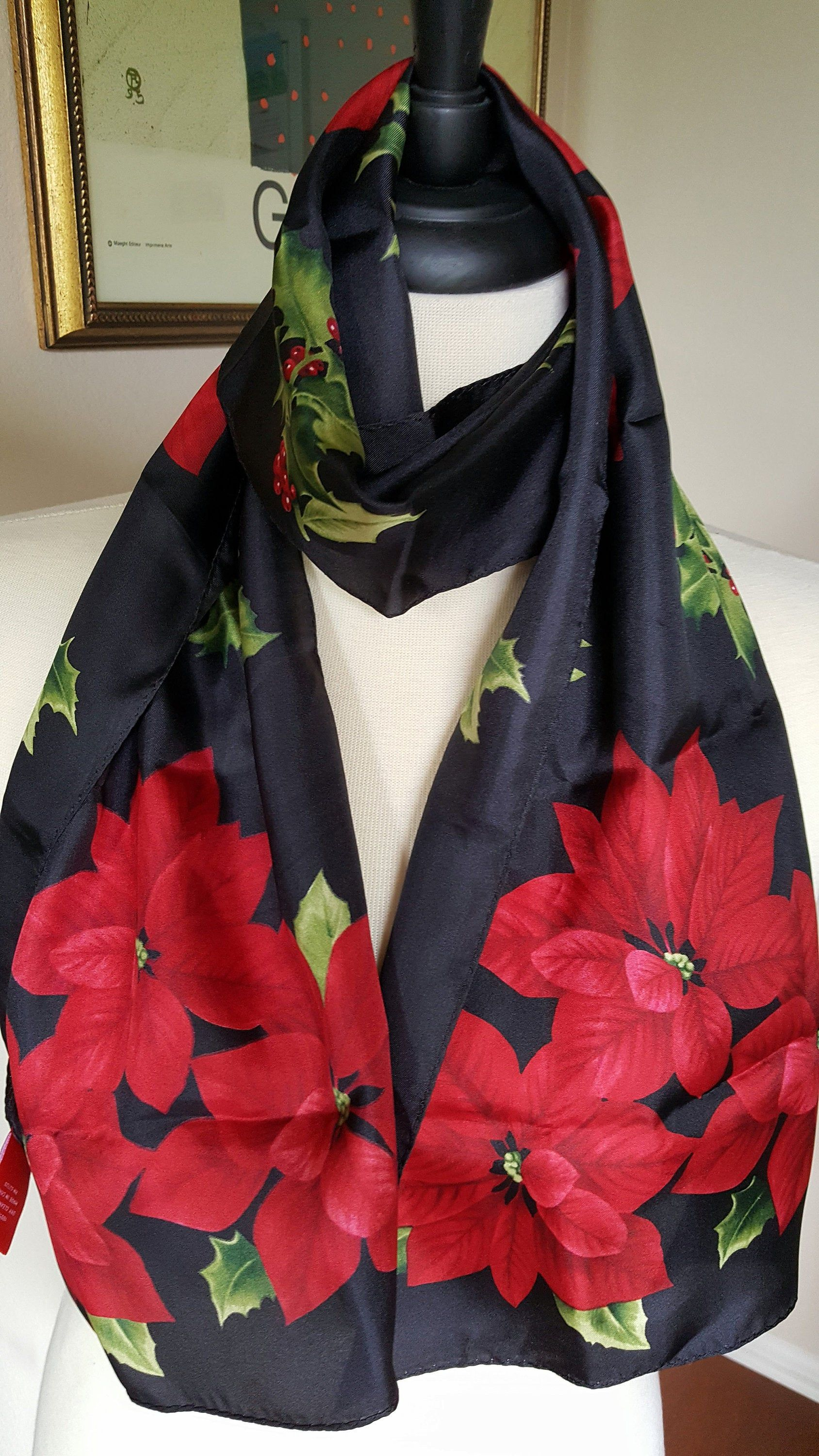 Red Blue Green Poinsettia flower Soft Satin Feel Christmas Festive Scarf Gift