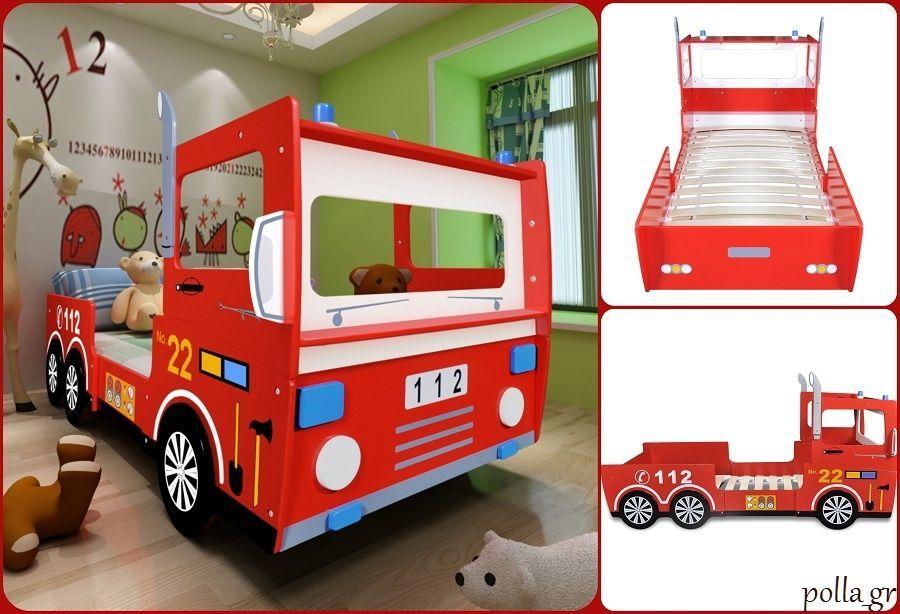 Childrens Bed Frame Single Boys Beds Red Fire Truck Kids Bedroom ...