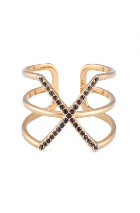 Hand set micro pave black statement X ring by Stella & Dot The