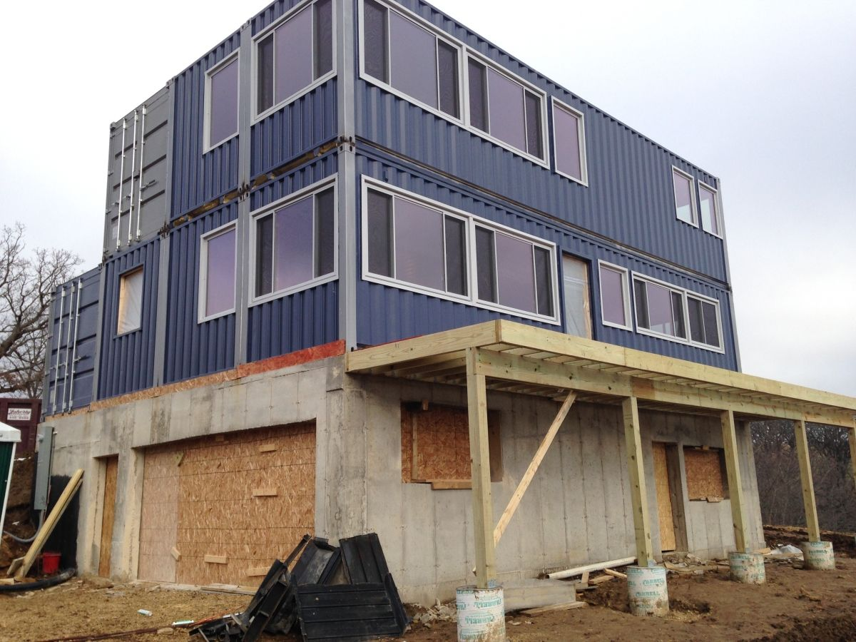 shipping container home progress - home located in wisconsin